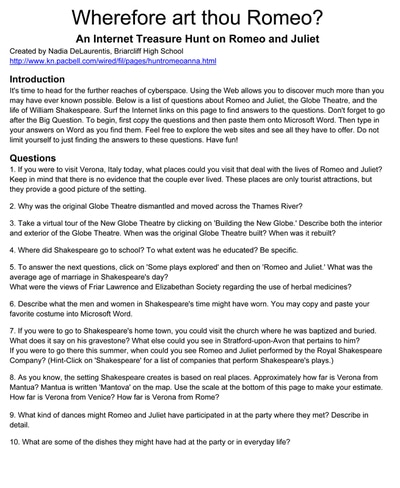 william shakespeare scavenger hunt essay Shakespearean scavenger hunt in order to gain an understanding of william shakespeare, his life, and the time period in which he lived, use the.